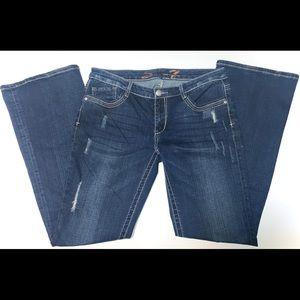 Women's Seven7 Dark Wash Low Rise Flare Jeans